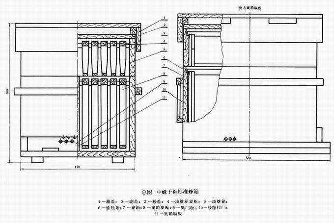 中华蜜蜂(中蜂)十框标准蜂箱(gb 3607-83)